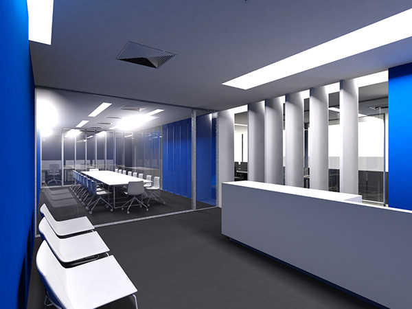 Blue office on behance for Office design blue