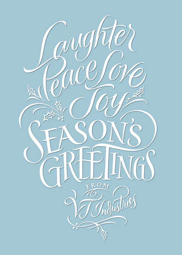 Holiday card brush calligraphy on behance