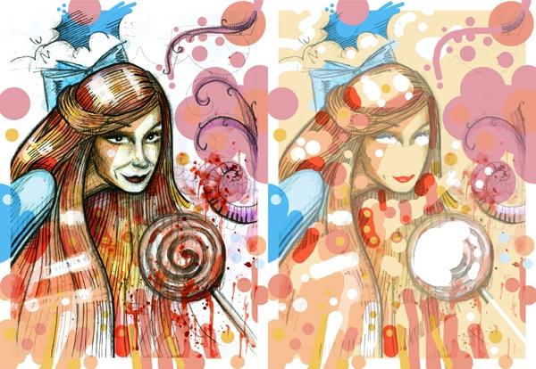 cosmic girls pretty Famme Fatale scared surprised lollipop Candy glance eyes native american feather butterfles long hair watercolor