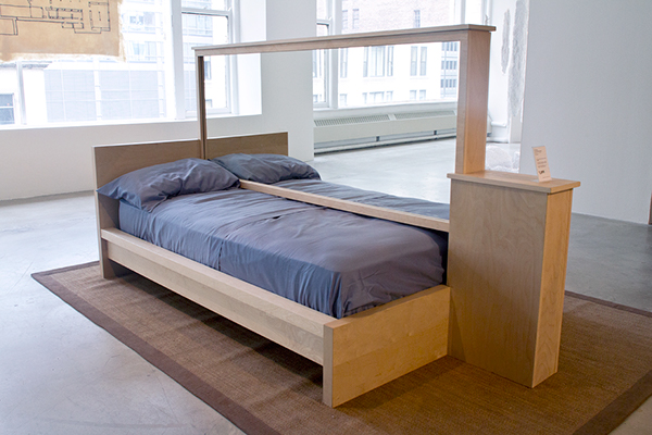 bed frame with mirrored partition wood mirror bedding 95 18 x 59 12 x 52 58 - Mirrored Bed Frame