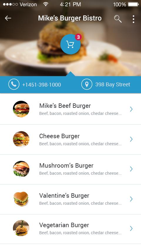 mobile ios restaurant application