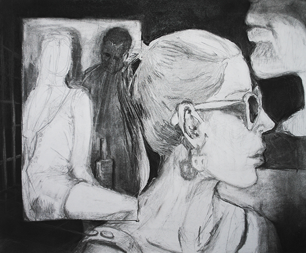 draw black and white charcoal graphite mixed media
