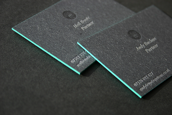Edge painted letterpress business cards on behance we recently worked with design outfit the ubiquitous manufacturing company to print their business cards the brief called for super thick board with edge reheart Image collections