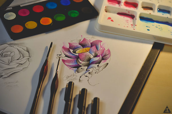 Abstract Watercolor Lotus Lotus Watercolor Tattoo on