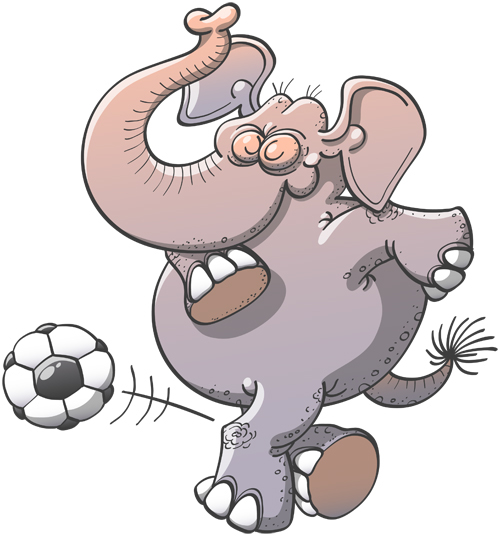 Cool elephant executing a stylish rabona with a soccer ball