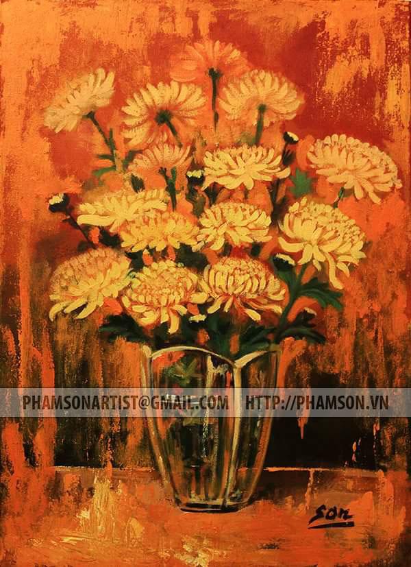 FLOWER PAINTING vietnam artist painting