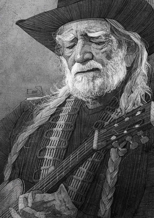 Willie Nelson illustration for the Washington Post by Stavros Damos