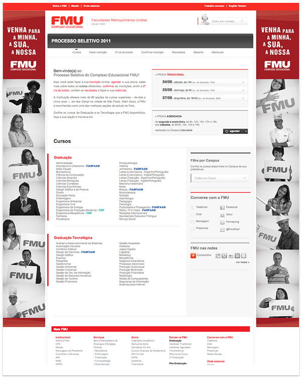University FMU Email banner cartaz folder educação Processo Seletivo faculdade