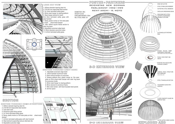 Reichstag dome structural exploration on behance for Norman foster strutture