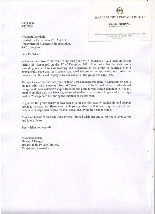 Letter Of Appreciation General Manager Bacardi India On