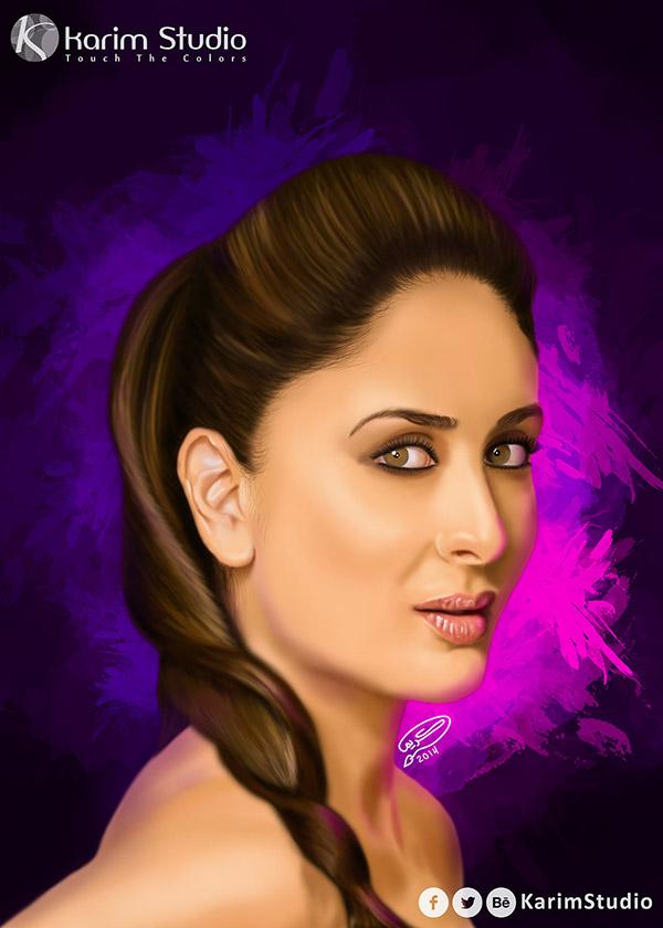 Kareena Kapoor Digital Painting On Behance - Hair colour kareena kapoor