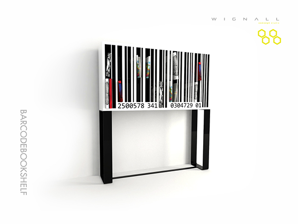 barcode bookshelf creative concept modern bookcase furniture