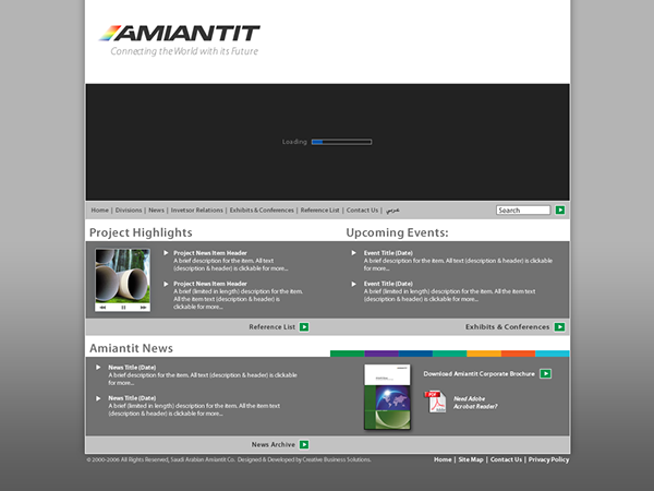 CBS - Amiantit Website Design on Pantone Canvas Gallery