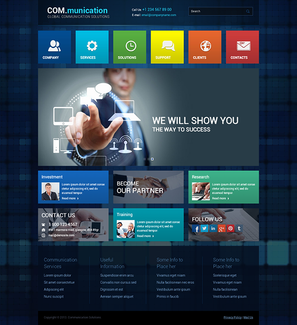 Square Communication Responsive Wordpress Template On Behance