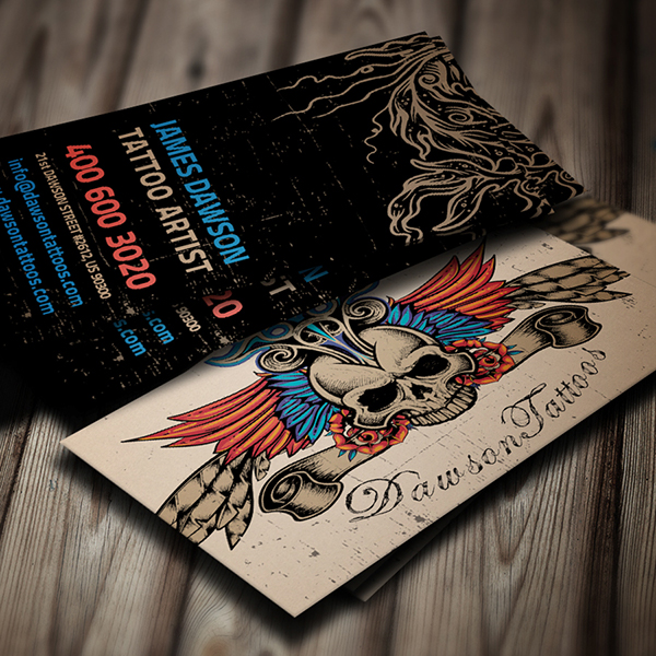 Tattoo artist business card on behance for Business card size tattoos