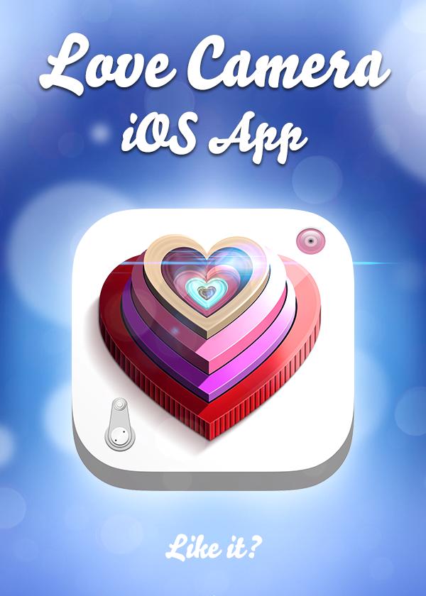 ios app UI ux Icon ios7 CAM camera lens Love frame filter heart
