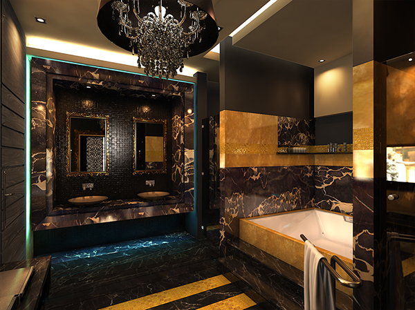Black and gold bathroom on behance for Black and gold bathroom decor