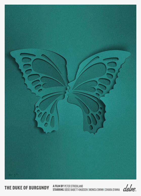paper cut poster sensual butterfly kiss woman