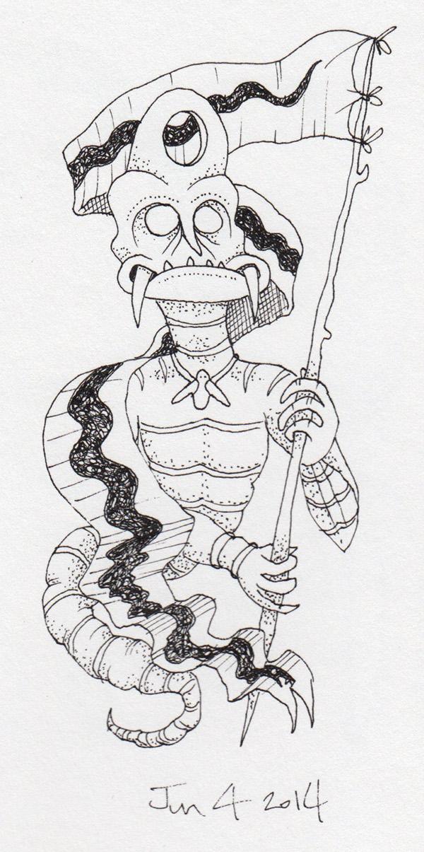 ink paper Rotring moster demon devil bizarre creature horror freak