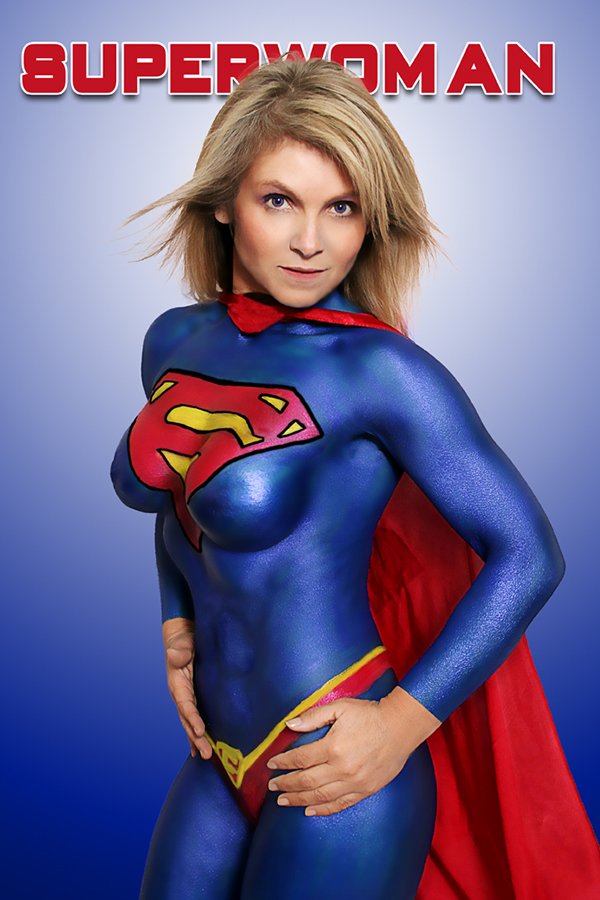 Sexy supergirl body paint