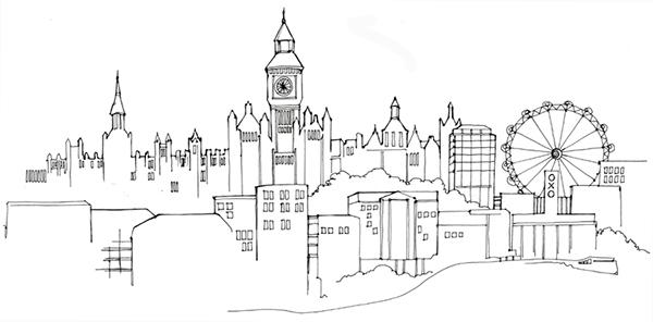 Line Drawing London : Linear skylines on behance