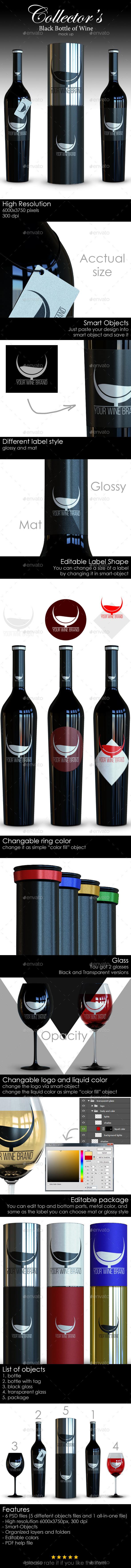 mock up mock-up Mockup wine black bottle collector