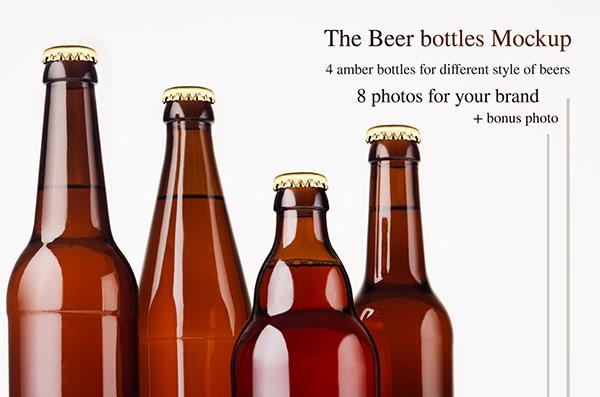 The Amber Beer Bottles Mockup