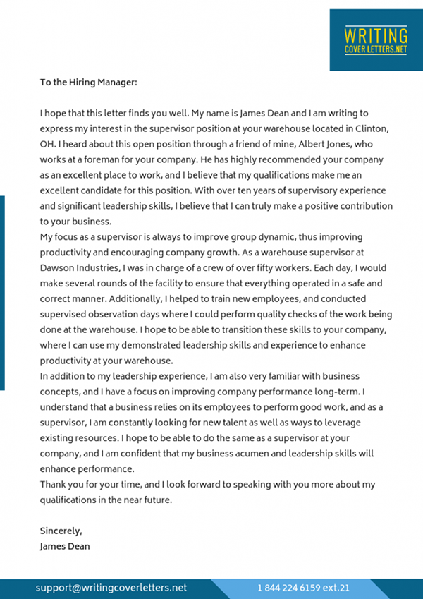 Sample Cover Letter for Supervisor Position on Pantone ...