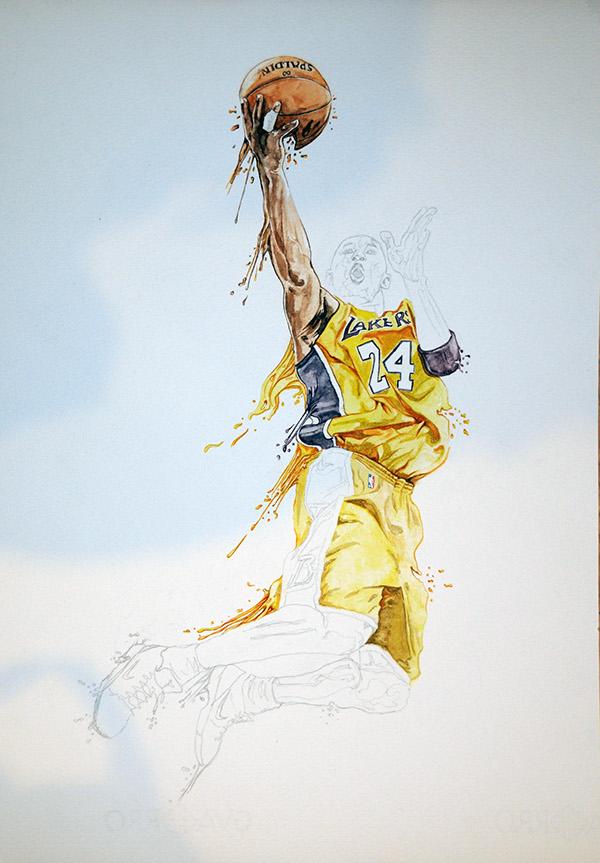 kobe bryant Kobe Bryant Lakers watercolour acuarela baloncesto basketball basket spalding Nike adidas usa NBA