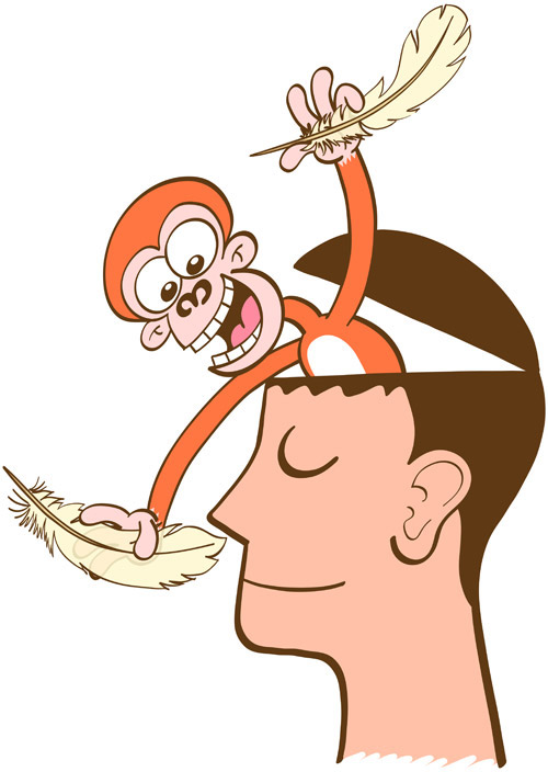 Monkey mind tickling the nose of a man in meditation with a feather