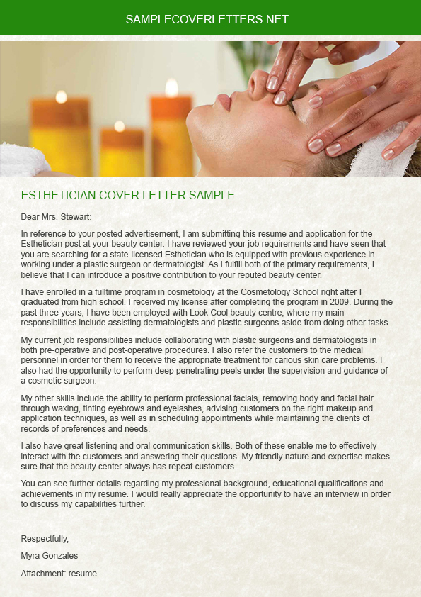 esthetician cover letter sample on pantone canvas gallery