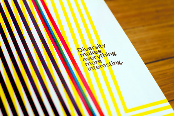 "A sheet of paper with different colored lines and the text ""Diversity makes everything more interesting"""