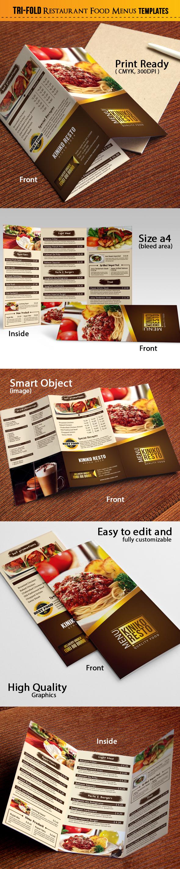 tri fold food menu on behance. Black Bedroom Furniture Sets. Home Design Ideas