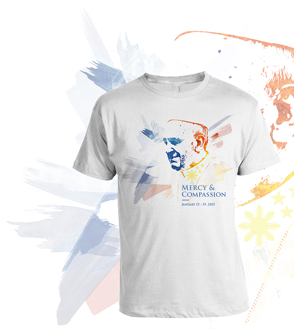 Pope Francis watercolor philippines Lolo Kiko Pope Papal Visit Mercy and Compassion t-shirt inspire