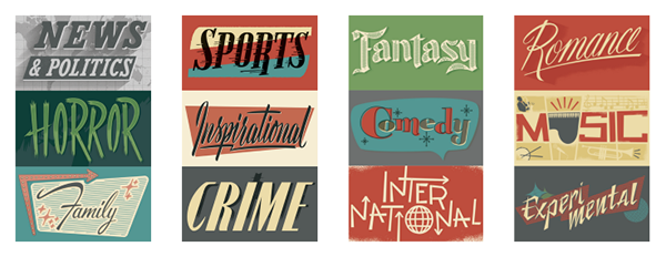 All Were Inspired By Typography From The 40s 50s And Classic Film Posters Ephemera We Created Over 25 In Total More Genres Are Being Added
