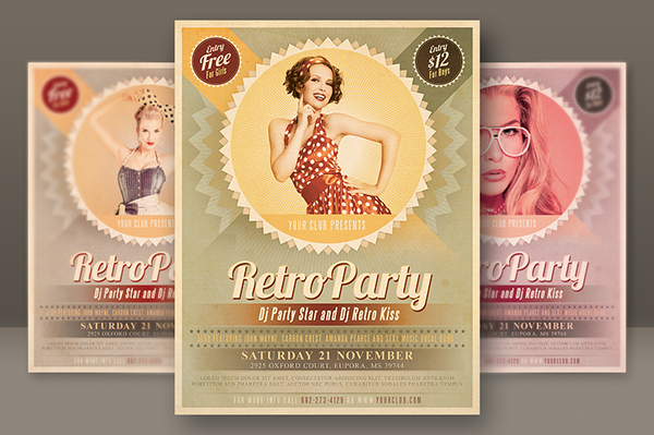 6 Retro Style Party Flyers on Behance