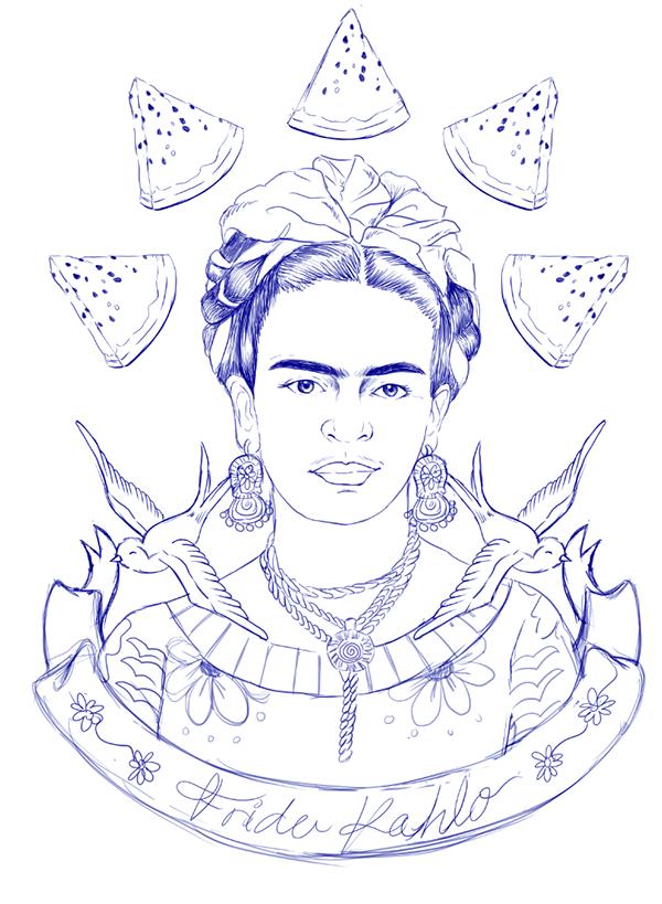 frida kahlo coloring pages - ilustraci n i frida kahlo on behance