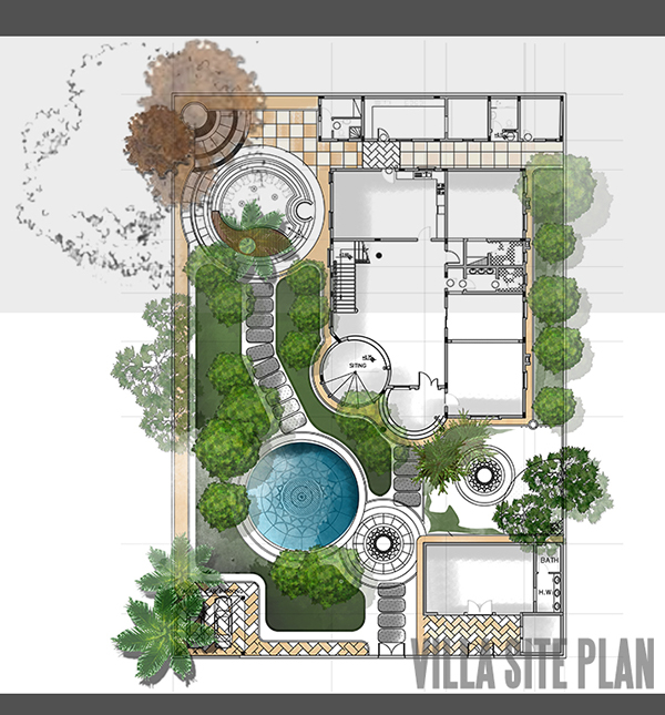 Villa site plan design on behance for Villa architecture design plans