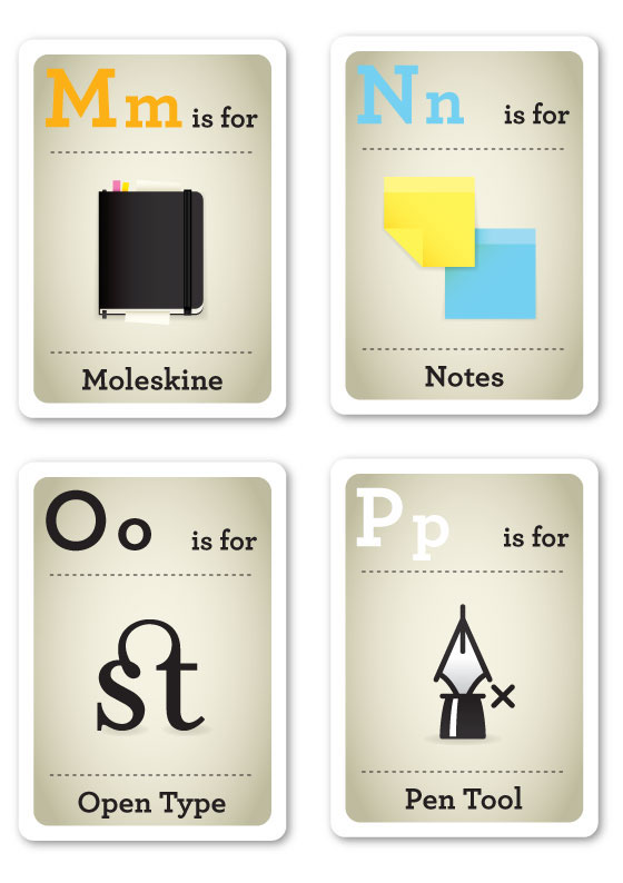 emma cook Flash Cards ABC Hipster silly