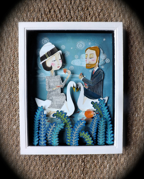 scenery  surrealistic   Couple  story   layer  collage  paper  lake  blue  Swan  people   animal  colour