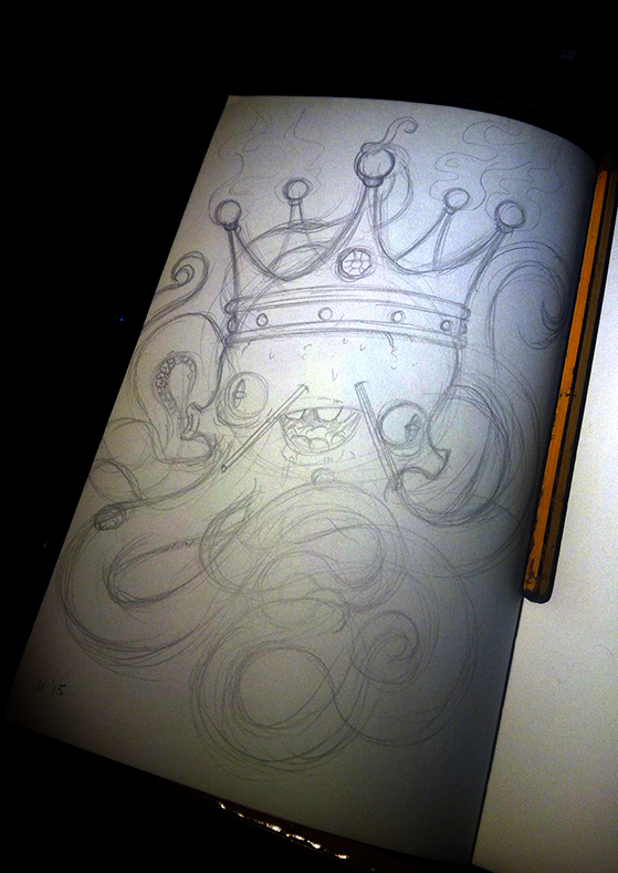 draw color octopus pink fantasy weird animal king crown digital colorfull