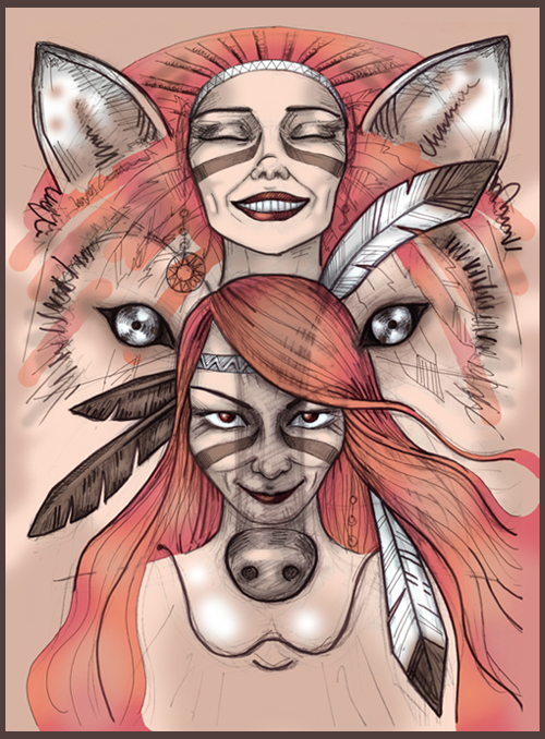 girls pretty wolf Famme Fatale glance eyes native american smile feathers vintage shaman shamanism women's face closed eyes predator