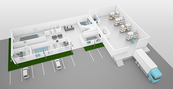 3d model of office building with warehouse on Behance