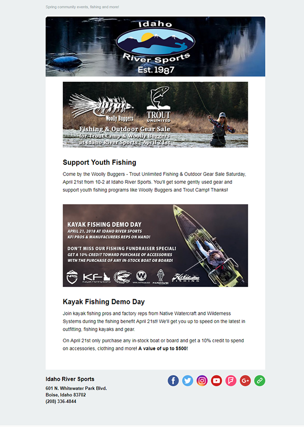 River Sports Email Template Design on Student Show