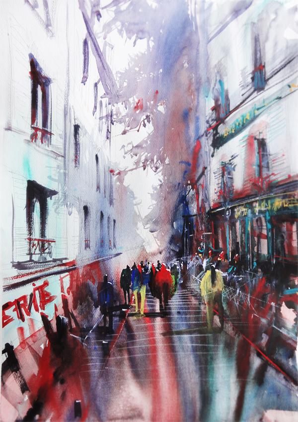 Well-known Montmartre Serie (Paris) - Watercolor paintings on Behance XA16