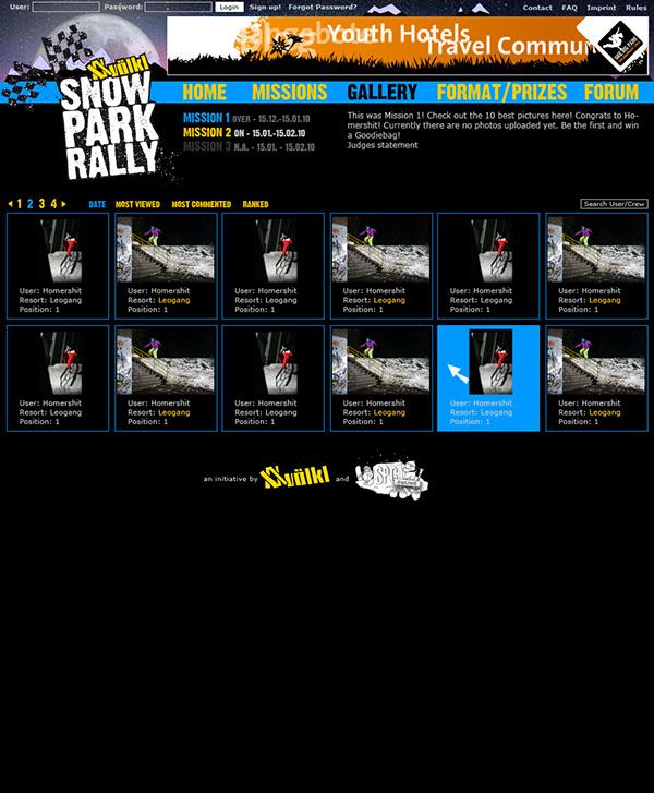 freeski snowboard online photo competition Snow Park Content Management TYPO3