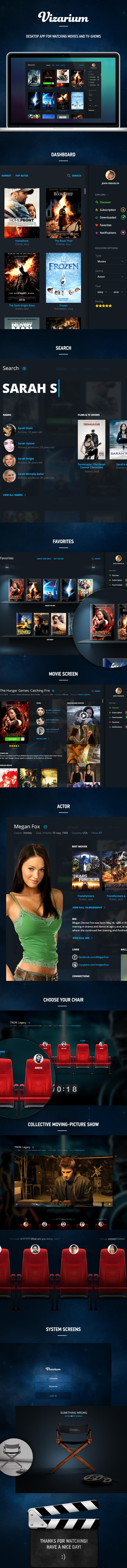 Cinema dark UI app blue tv Show vizarium
