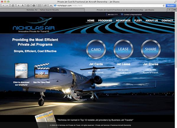 Nicholas Air Private Jets  Website Design