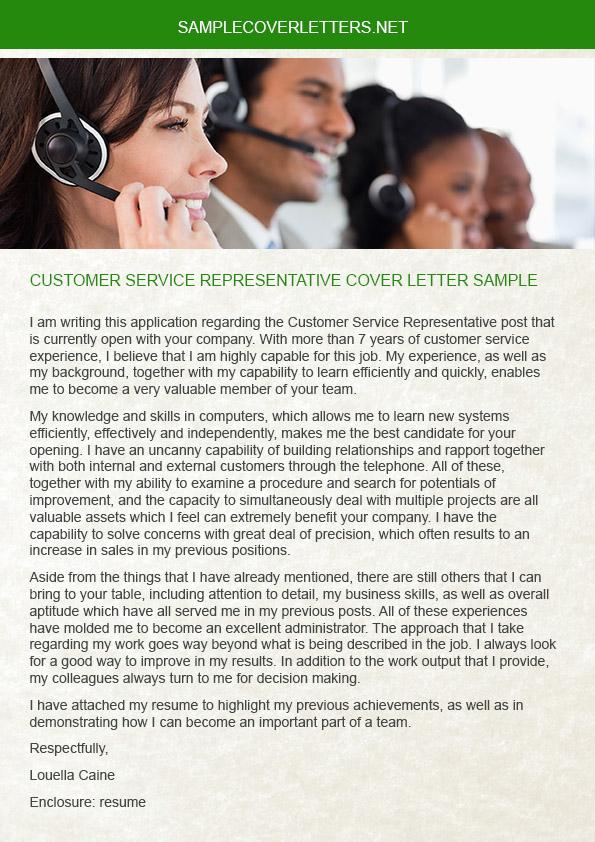 customer service representative cover letter sample on