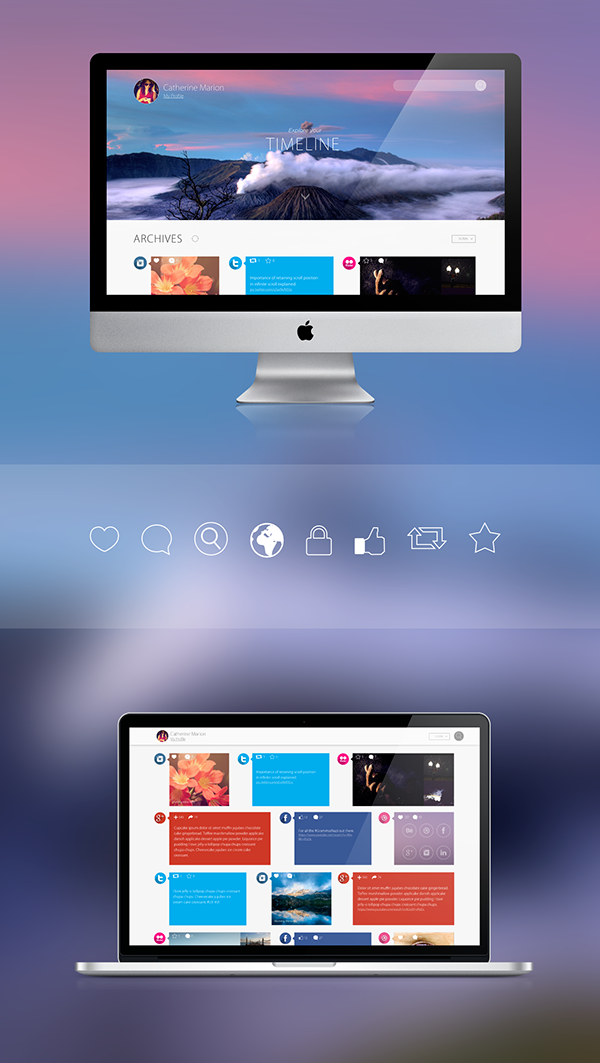 ux UI design Website social media Archives medias icons filters profile Web desktop mobile